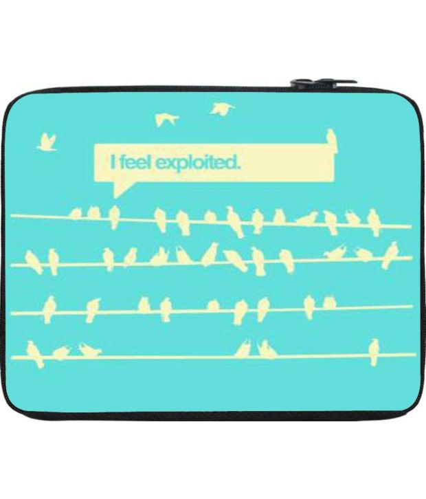 Snoogg Blue and Beige Laptop Sleeve