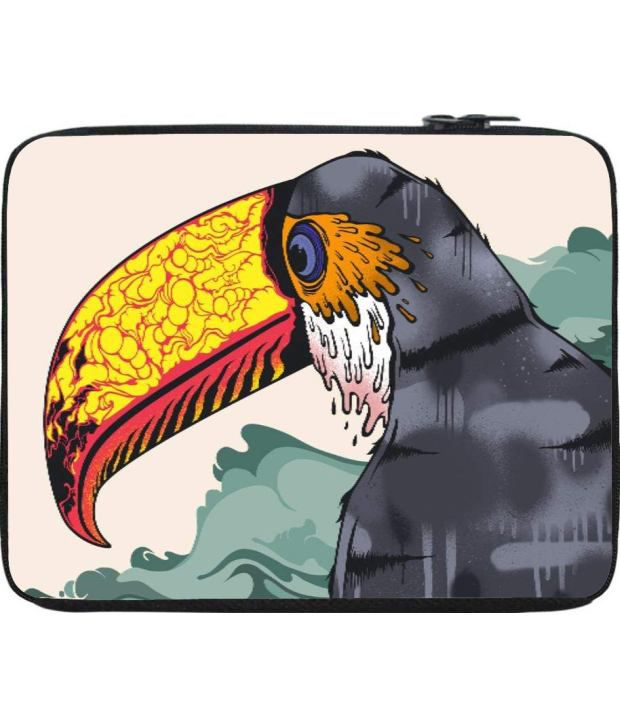 Snoogg Gray and Yellow Laptop Sleeve