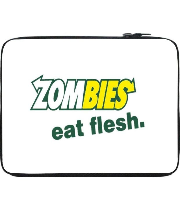Snoogg White and Green Laptop Sleeve