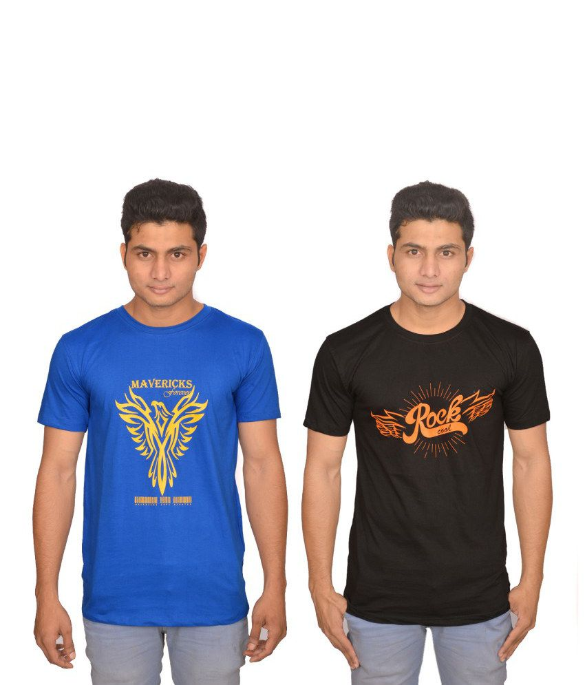 Xlent Combo Of Blue And Black Cotton T-shirt (Pack Of 2)