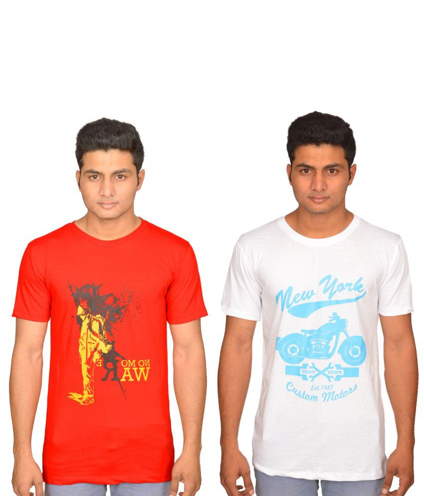 Xlent Combo Of Red And White Cotton T-shirt (Pack Of 2)