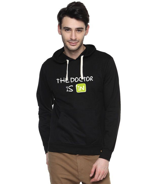 Campus Sutra Black Cotton Full Sleeved Sweatshirt With Quotes