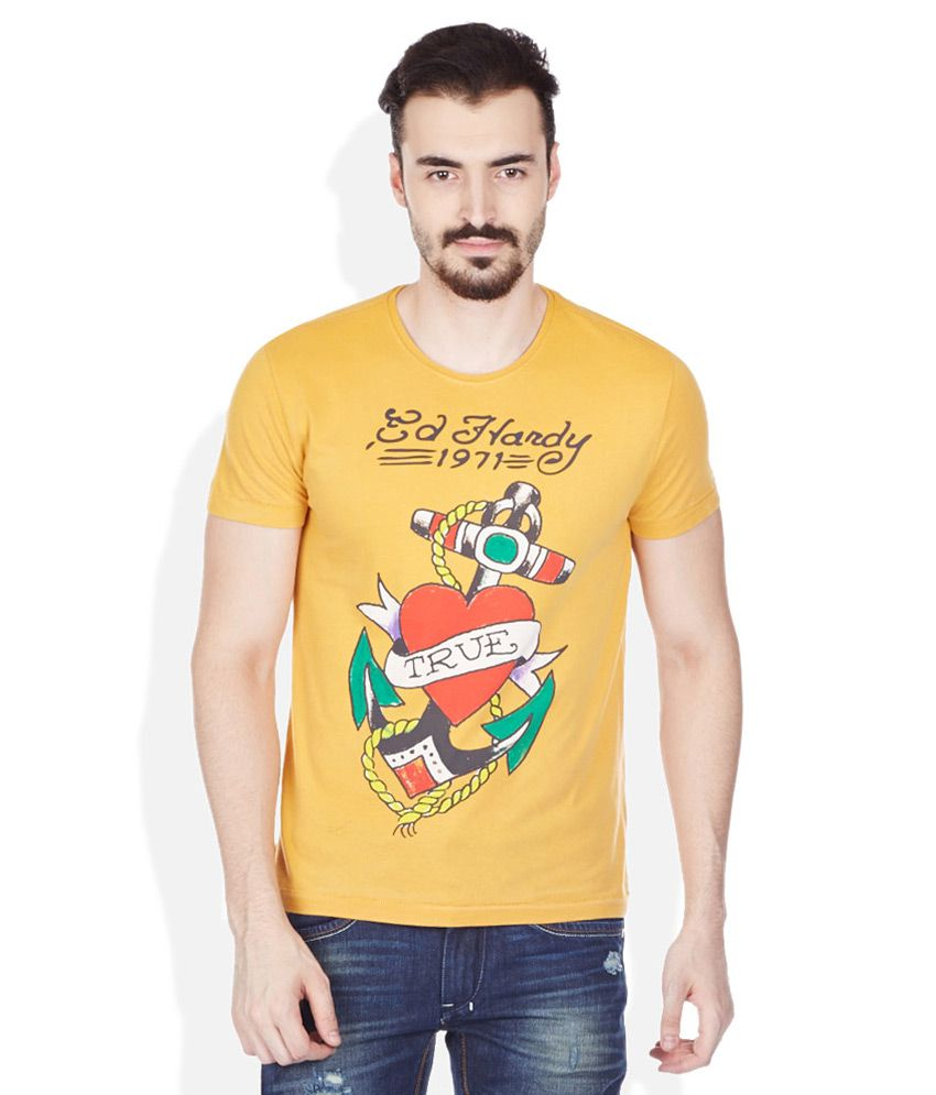 Ed Hardy Yellow Round Neck T Shirt