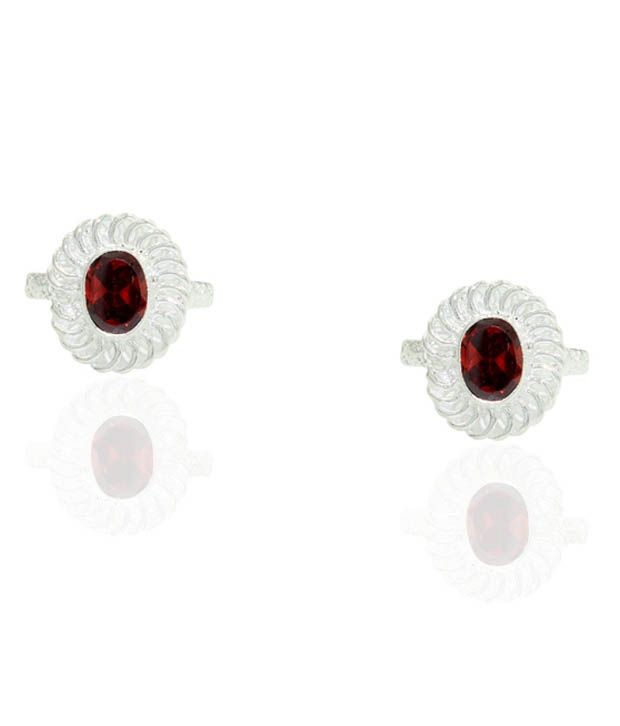 Pehchan Floral Red Zirconia German Silver Free Size Toe Ring