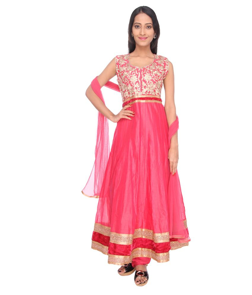 Ritu Creation Pink Cotton Stitched Suit