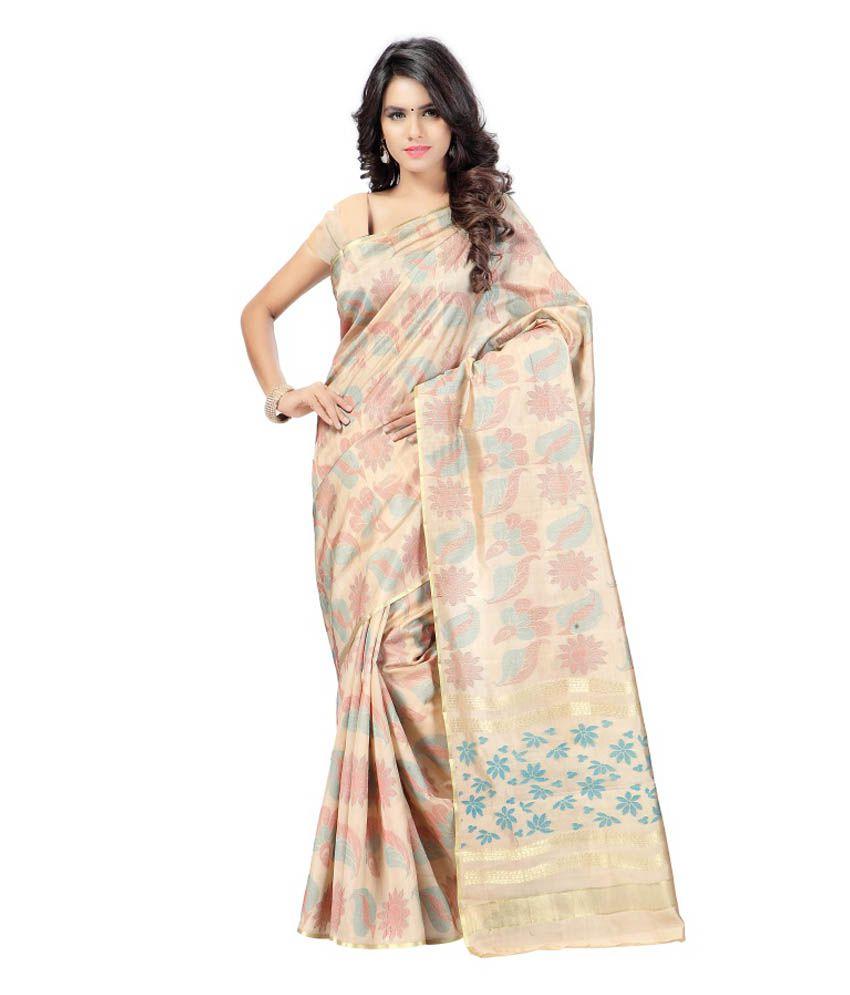 Vimlon Beige Silk Saree
