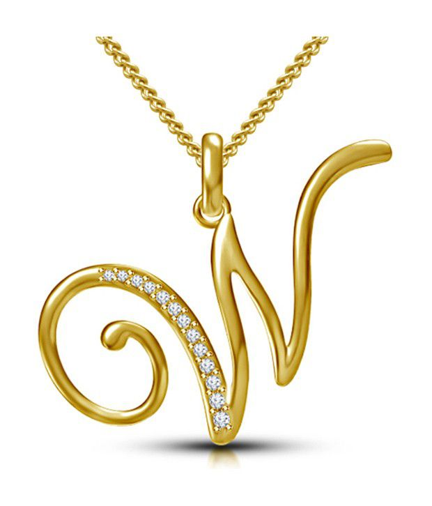 Kataria Jewellers Letter W Gold Plated 92.5 Sterling Silver and Swarovski  Alphabet Initial Pendant  Buy Kataria Jewellers Letter W Gold Plated 92.5  Sterling ... 2e024ee0024