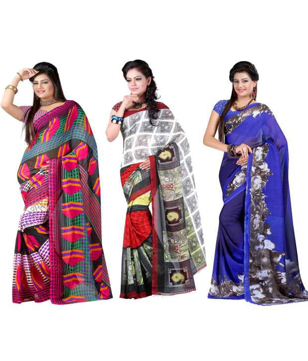 Yashika MultiColor Georgette Pack of 3