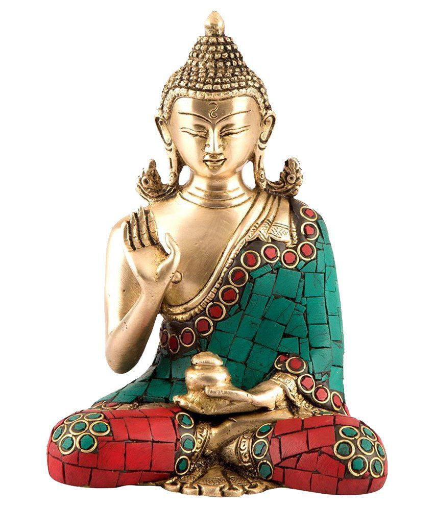 Collectible India Turquoise Brass Buddha Idol