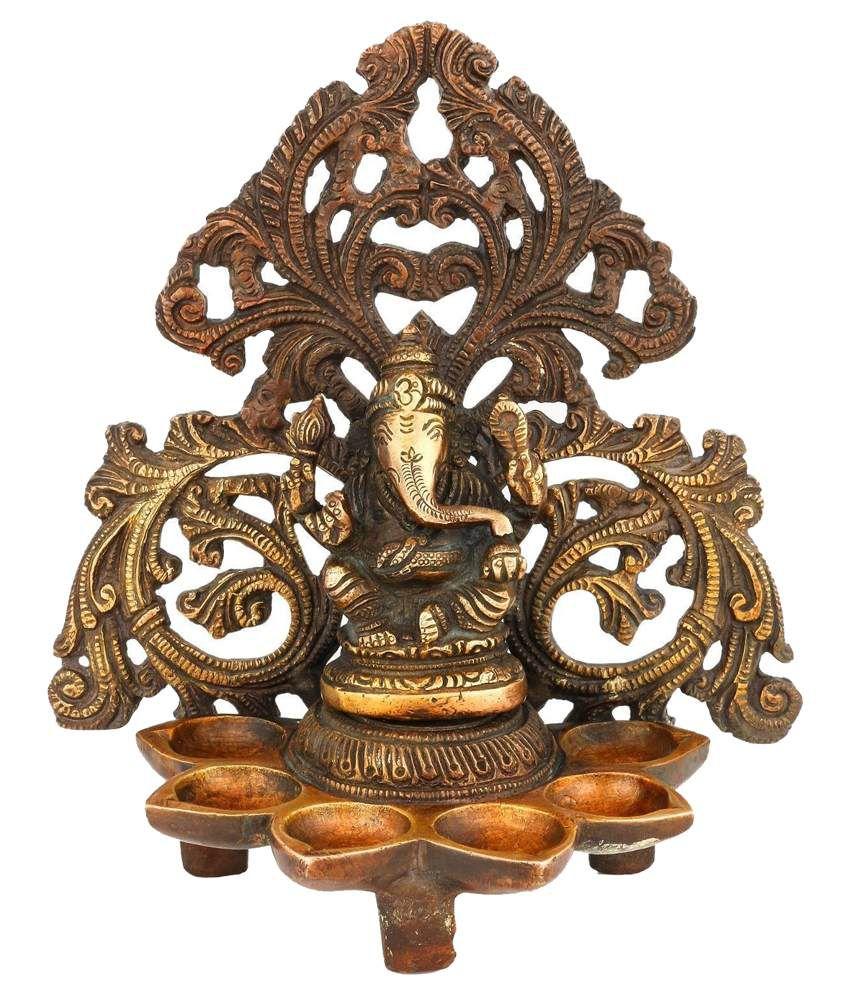 Collectible India Yellow Brass Ganesha Idol