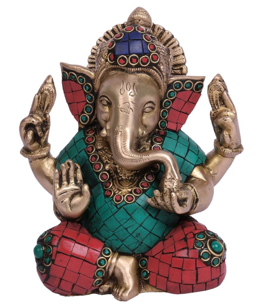 Collectible India Yellow Brass Ganesha Idol