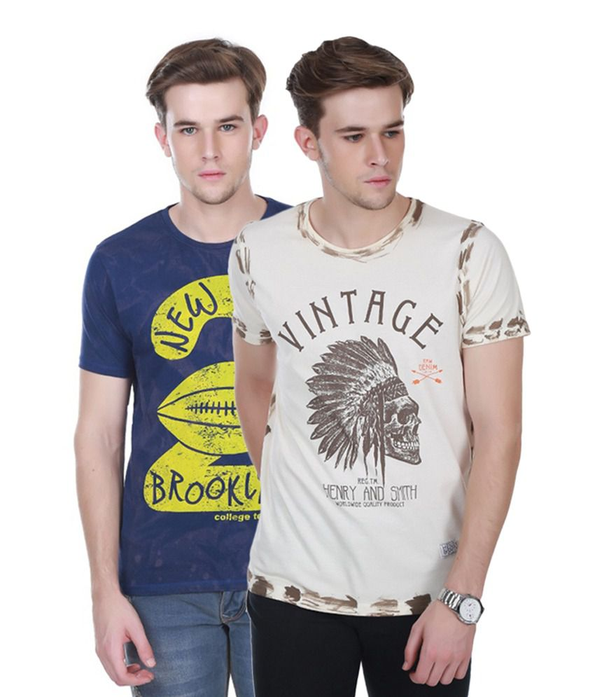 Henry and Smith Navy Blue & Beige Cotton Printed T-shirts (Pack of 2)