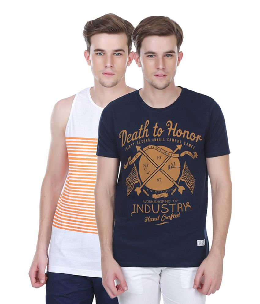Henry and Smith White & Navy Blue Cotton Printed T-shirts (Pack of 2)