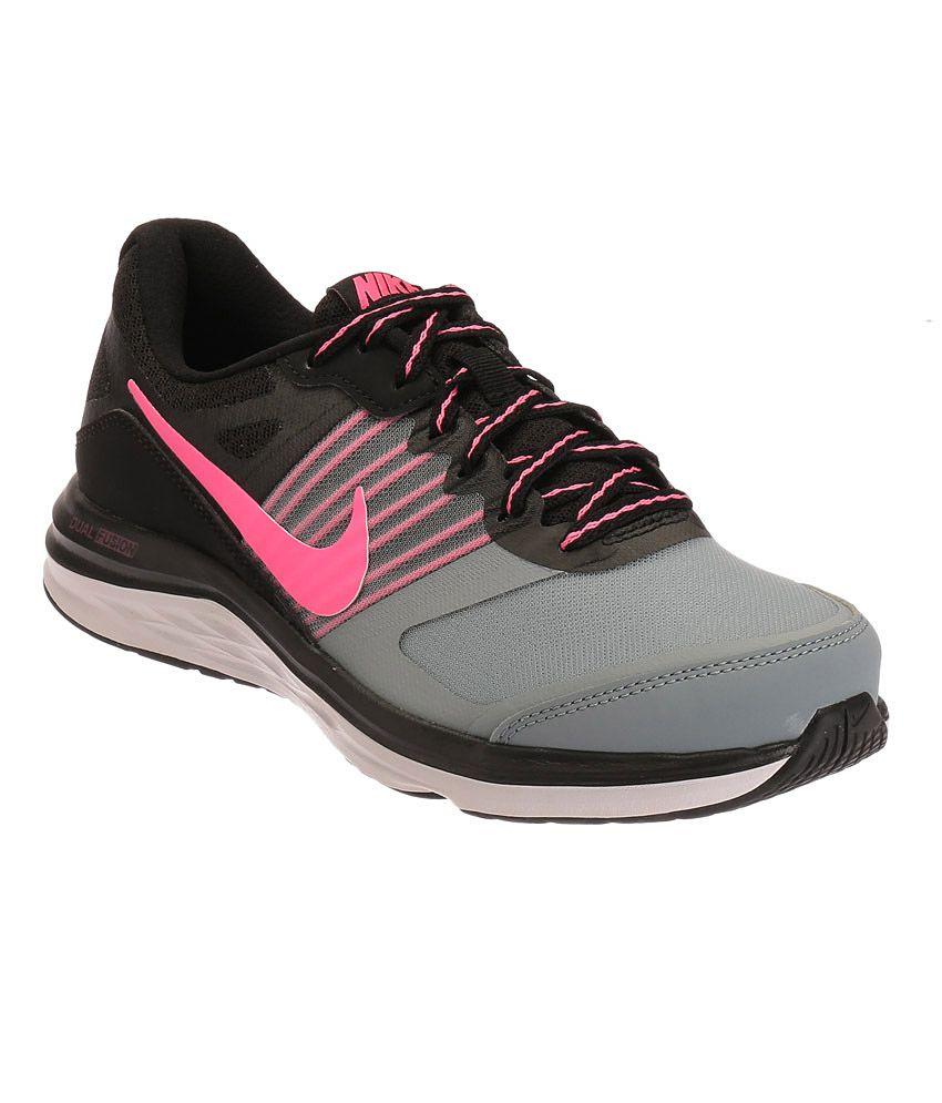 adc2e344f06 Nike Dual Fusion X Black and Pink Sports Shoes Price in India- Buy Nike  Dual Fusion X Black and Pink Sports Shoes Online at Snapdeal