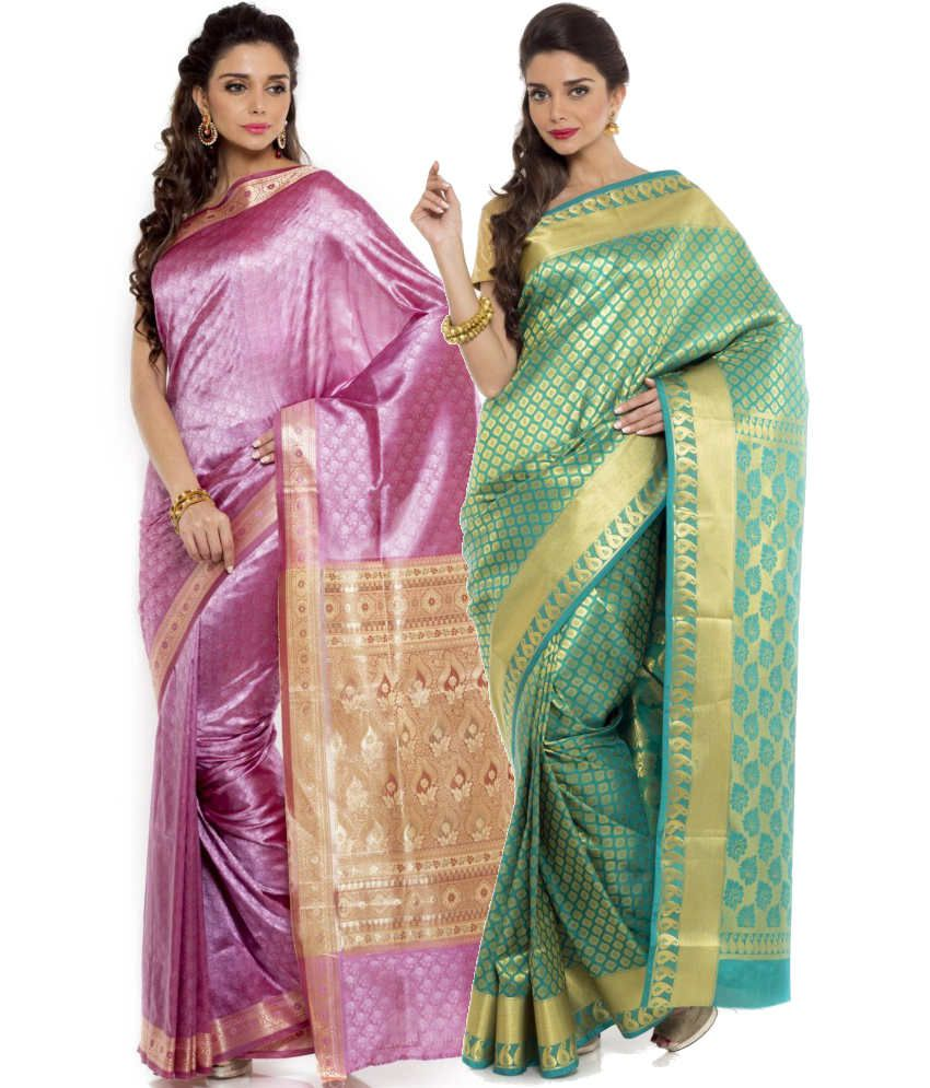 Sudarshan Silks Green and Pink Art Silk Pack of 2