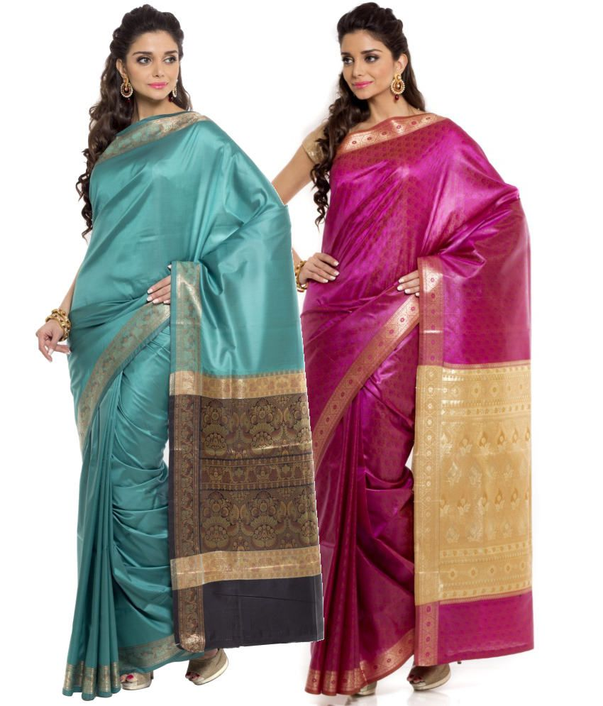 Sudarshan Silks Pink and Turquoise Art Silk Pack of 2