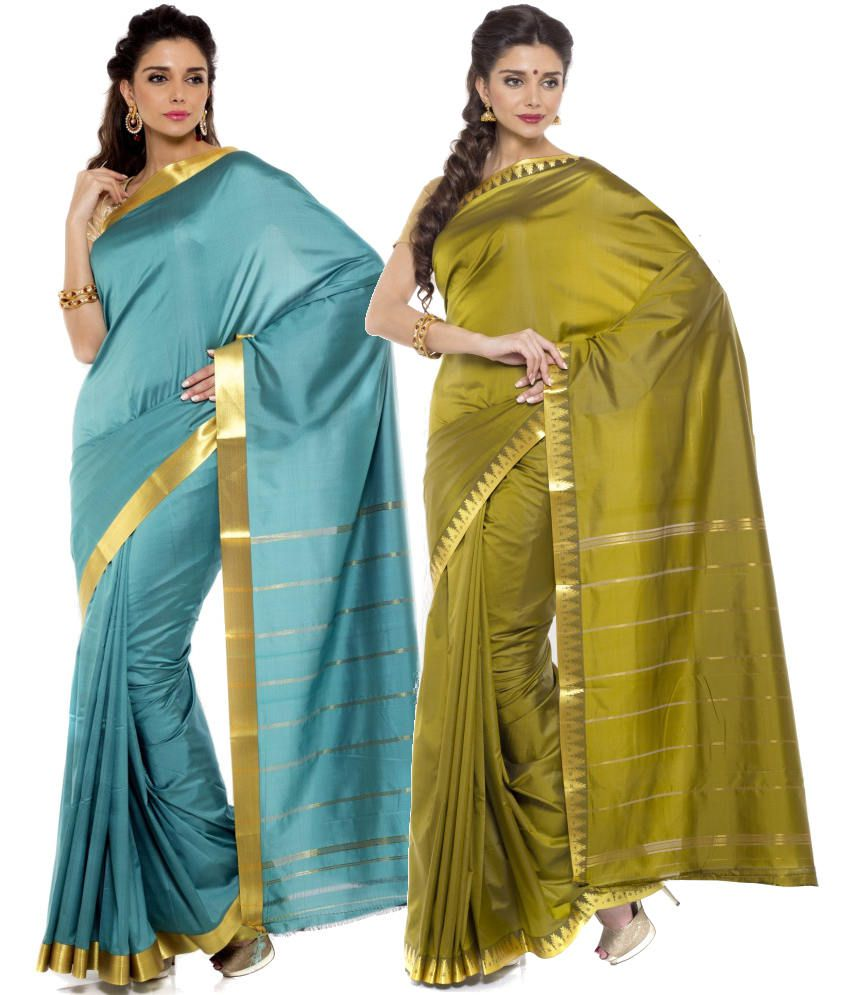 Sudarshan Silks Turquoise and Green Art Silk Pack of 2