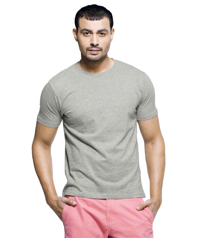 Wise Man Grey Cotton Round Neck T Shirt
