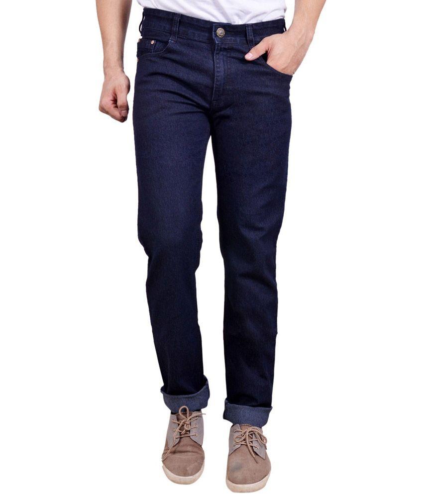 A Nine Navy Cotton Blend Straight Fit Jeans