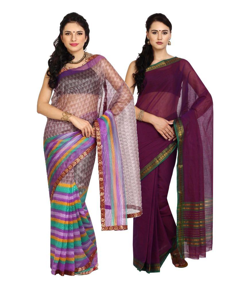 Aaboli Purple Art Silk Pack of 2