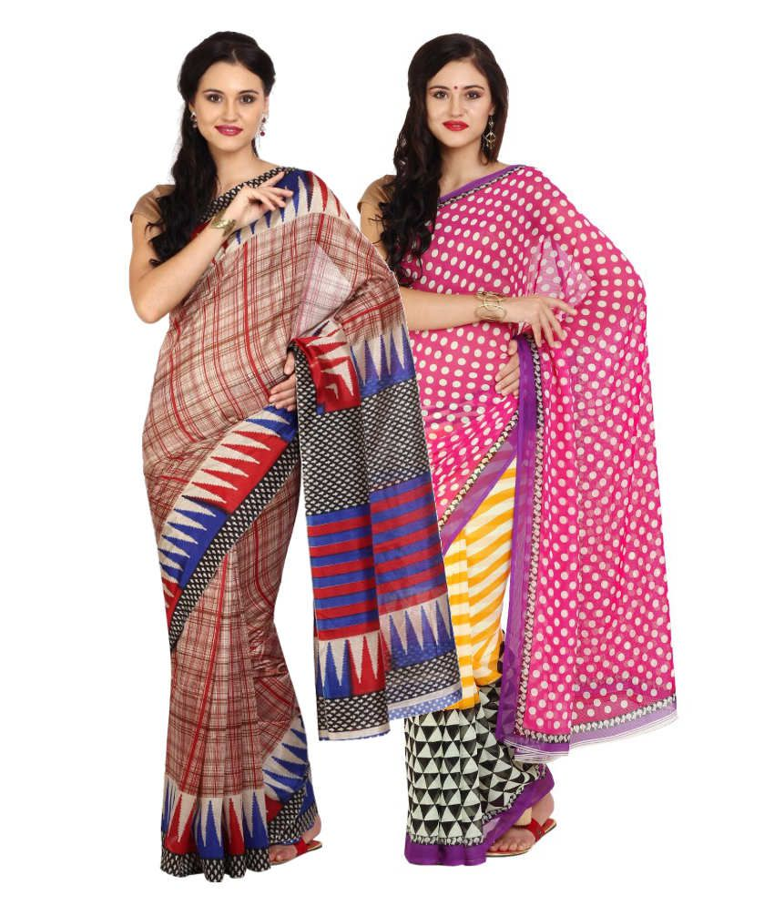 Aaboli Red and Pink Art Silk Pack of 2