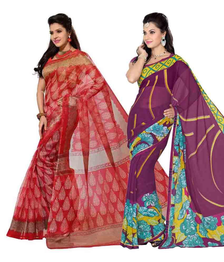 Vritika Red & Purple Art Silk Pack of 2