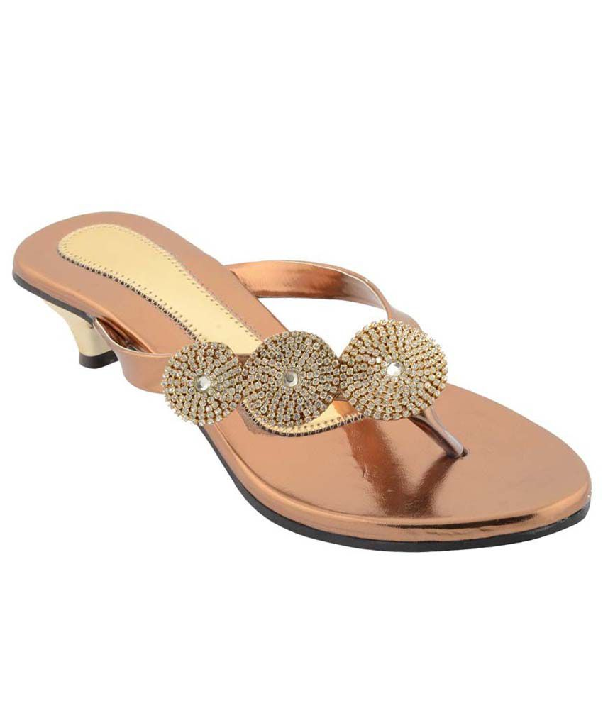 Anand Leathers Store Golden Ethnic Flat