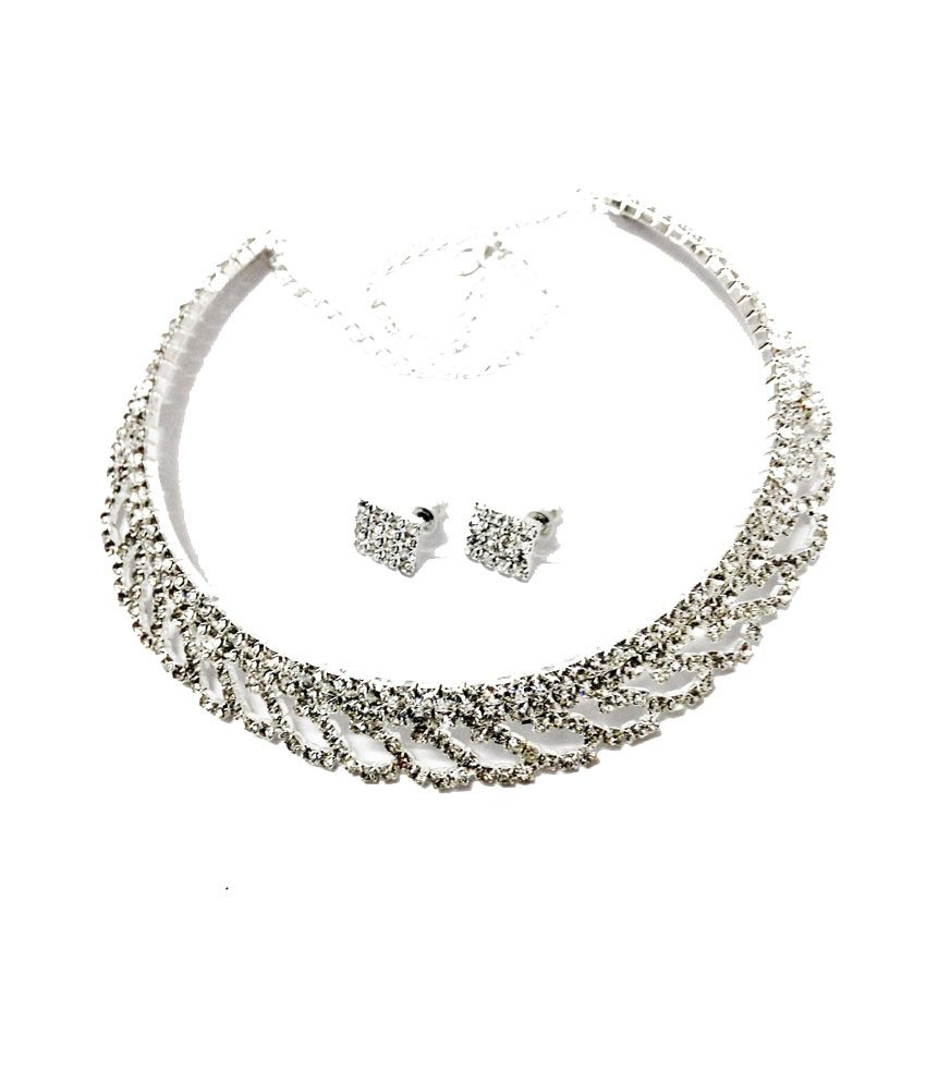 Jocular White Alloy Contemporary Wedding And Engagement Necklace Set