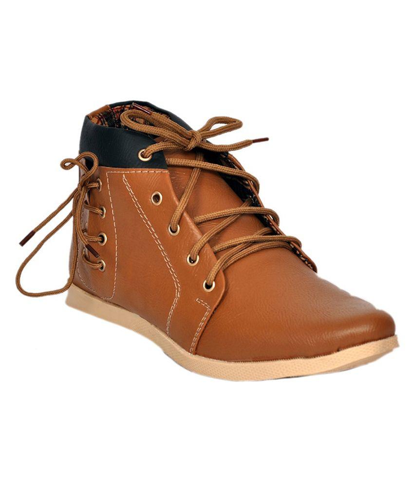 Koolado Tan Synthetic Leather Boots