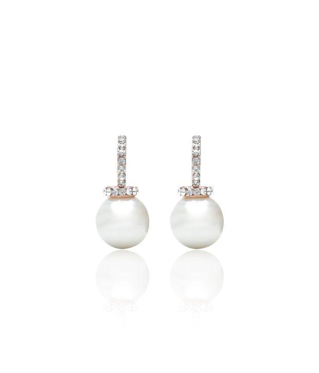 Svvelte White Led Free Alloy Drop Earrings