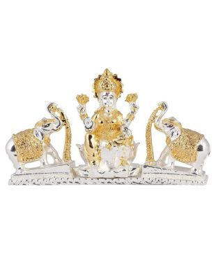 Lakshmi Idol With Elephants Silver Plated