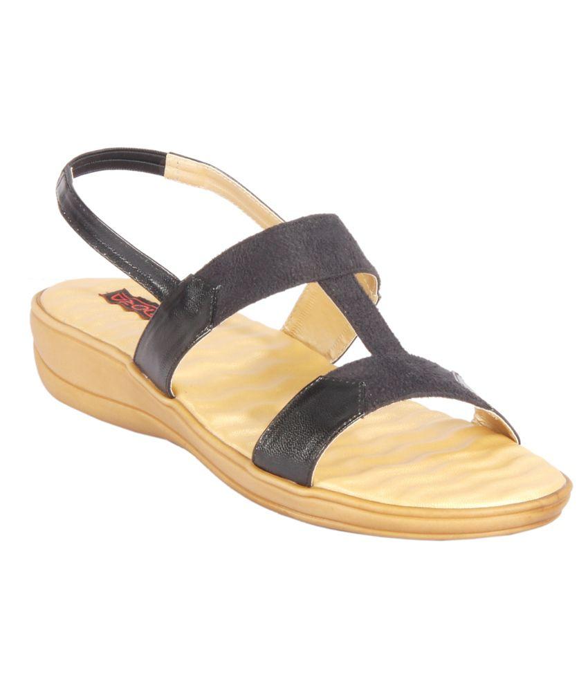 Amora Black Low Heeled Sandals