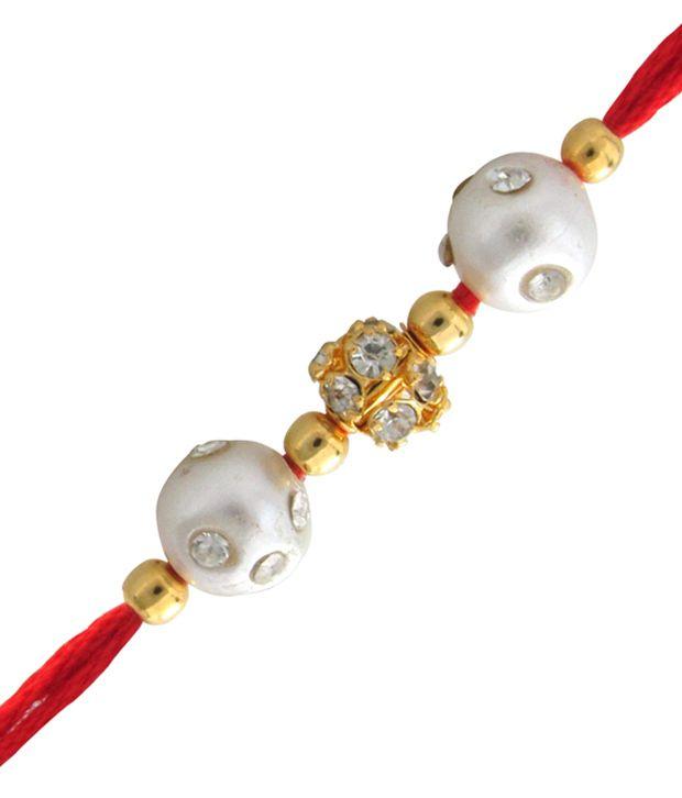 Mahi Gold Plated Pearl Duet Rakhi