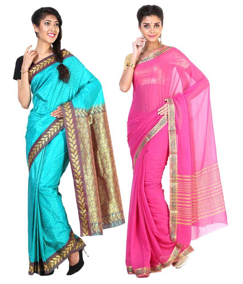 Sudarshan Silks Pink & Blue Semi Chiffon Pack of 2