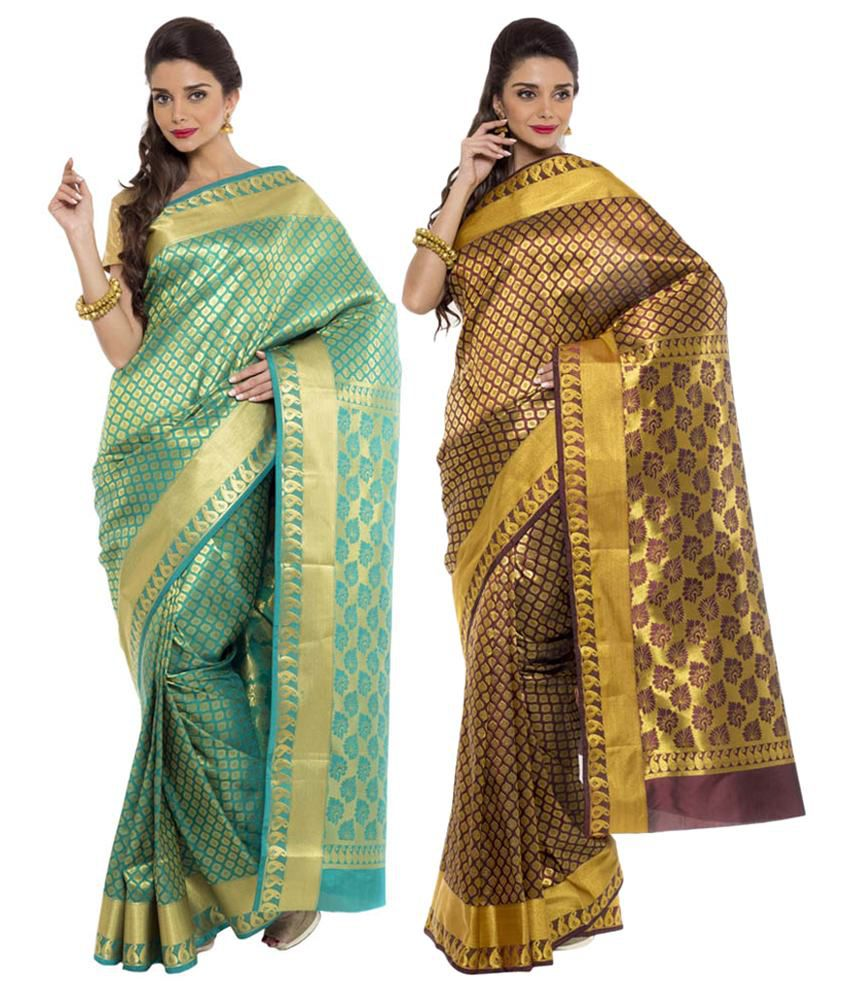 Sudarshan Silks Yellow and Turquoise Ar Silk Pack of 2