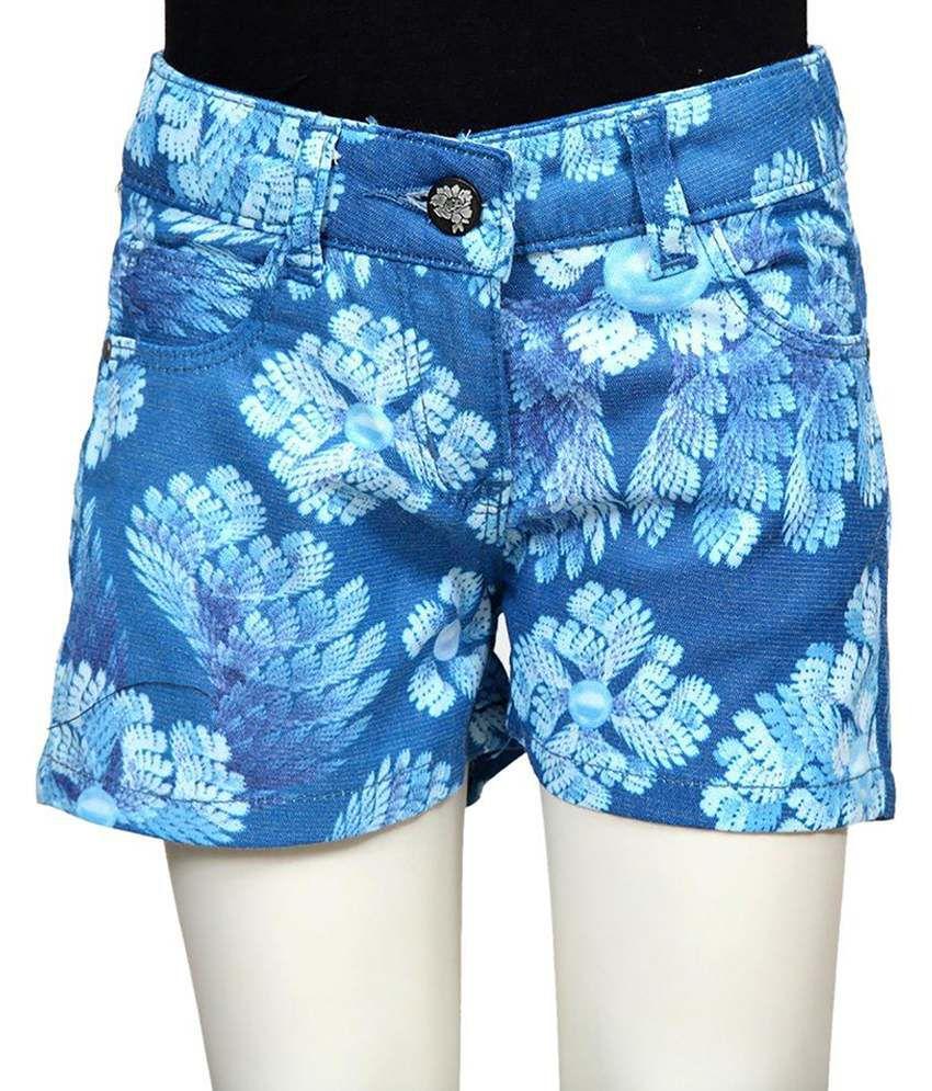 Tales & Stories Blue & White Cotton Shorts