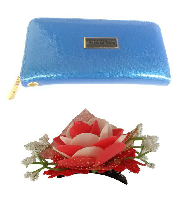 Viva Fashions Combo of Blue Women's Wallet & Red Hair Clip
