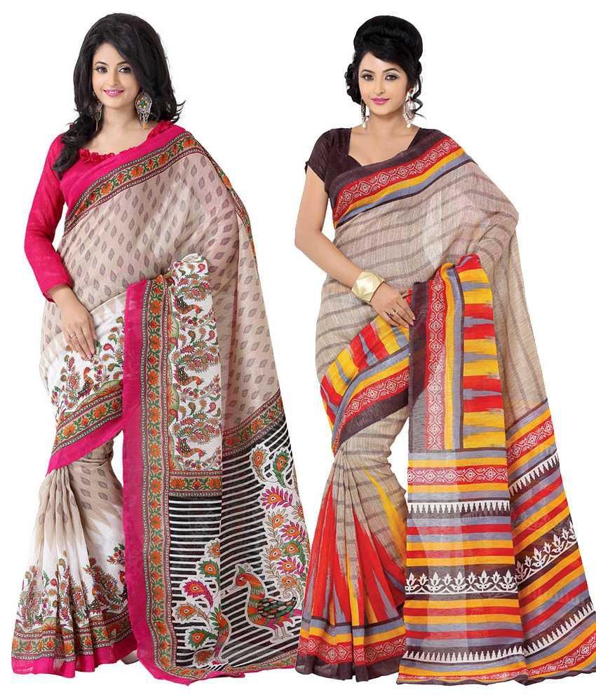 Womantra Pink, Beige & Brown Bhagalpuri Silk Pack of 2