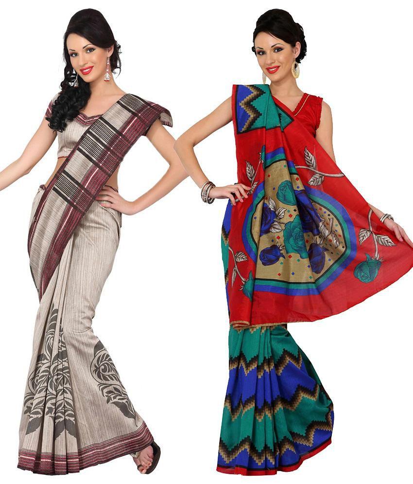 Womantra Red & Beige Bhagalpuri Silk Pack of 2