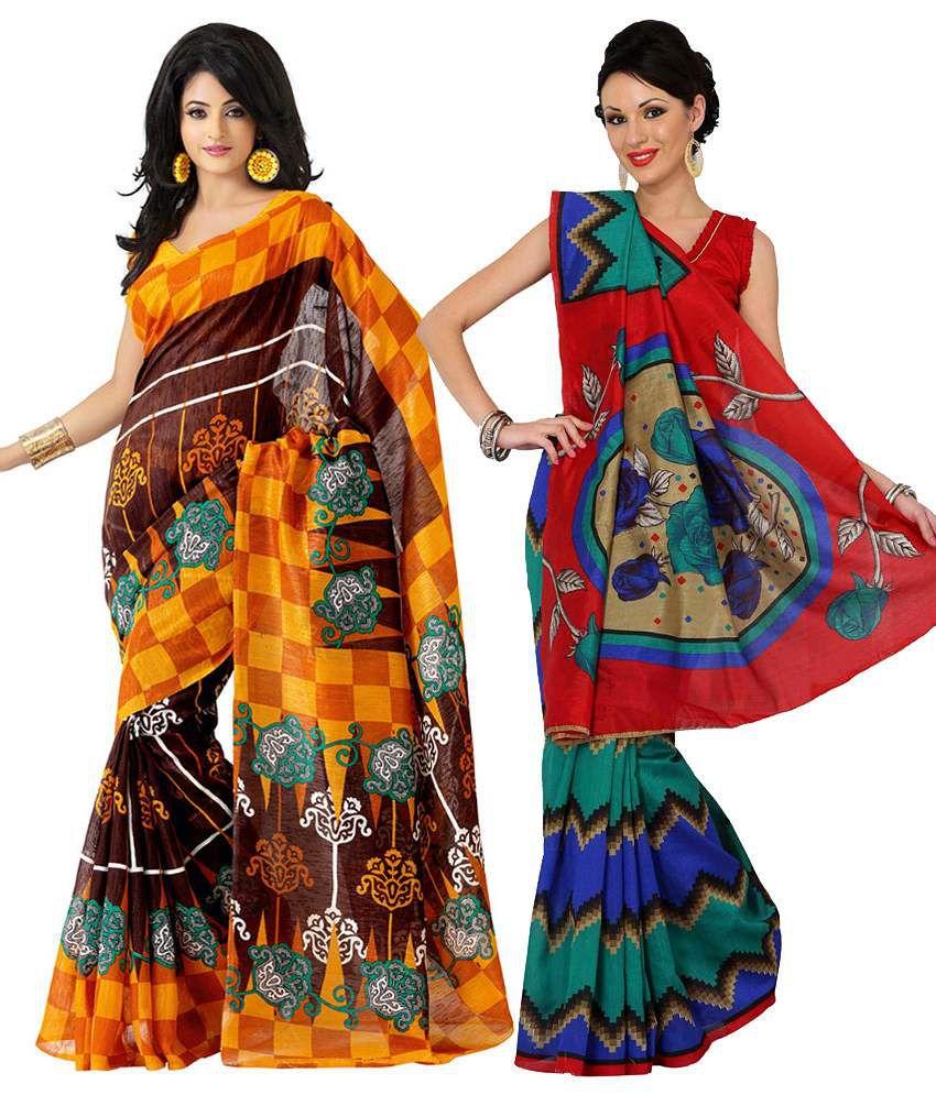 Womantra Red & Yellow Bhagalpuri Silk Pack of 2