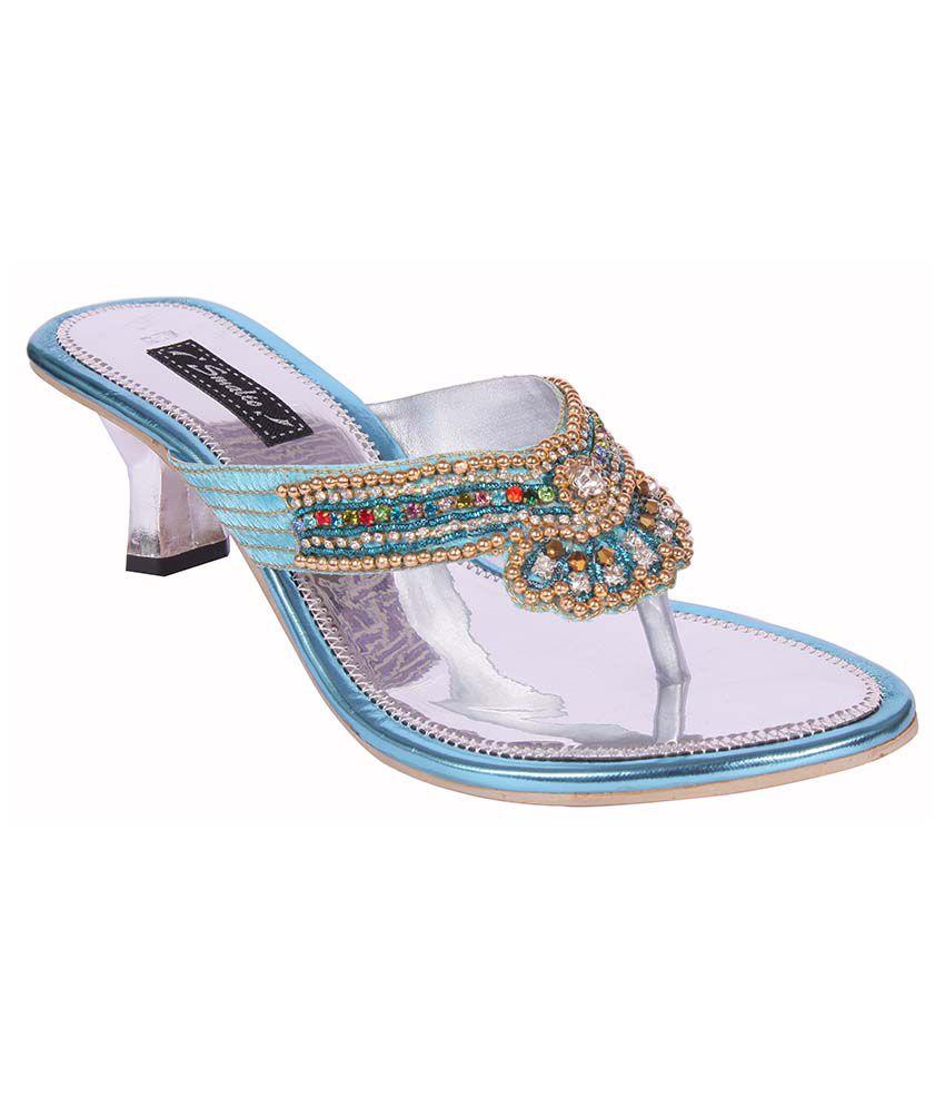 Smalto Blue Heeled Slip-Ons