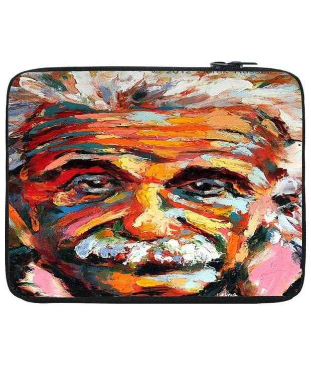 Snoog Orange & Yellow Einstein Vision Laptop Sleeve 12 to 12.6 Inch
