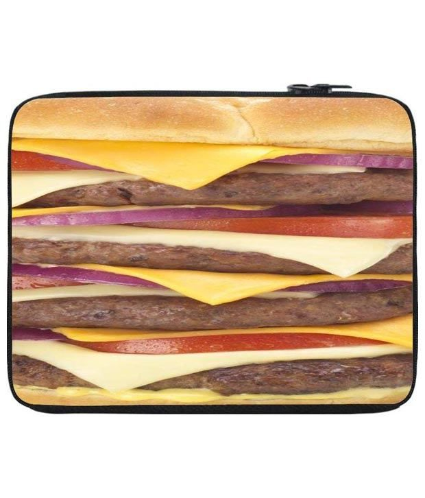 Snoog Yellow & Red Quadruple Appetite Laptop Sleeve 12 to 12.6 Inch