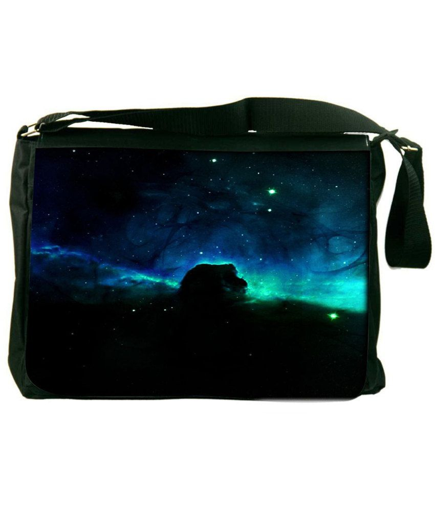 Snoogg Black and Blue Laptop Messenger Bag Black and Blue Messenger Bag