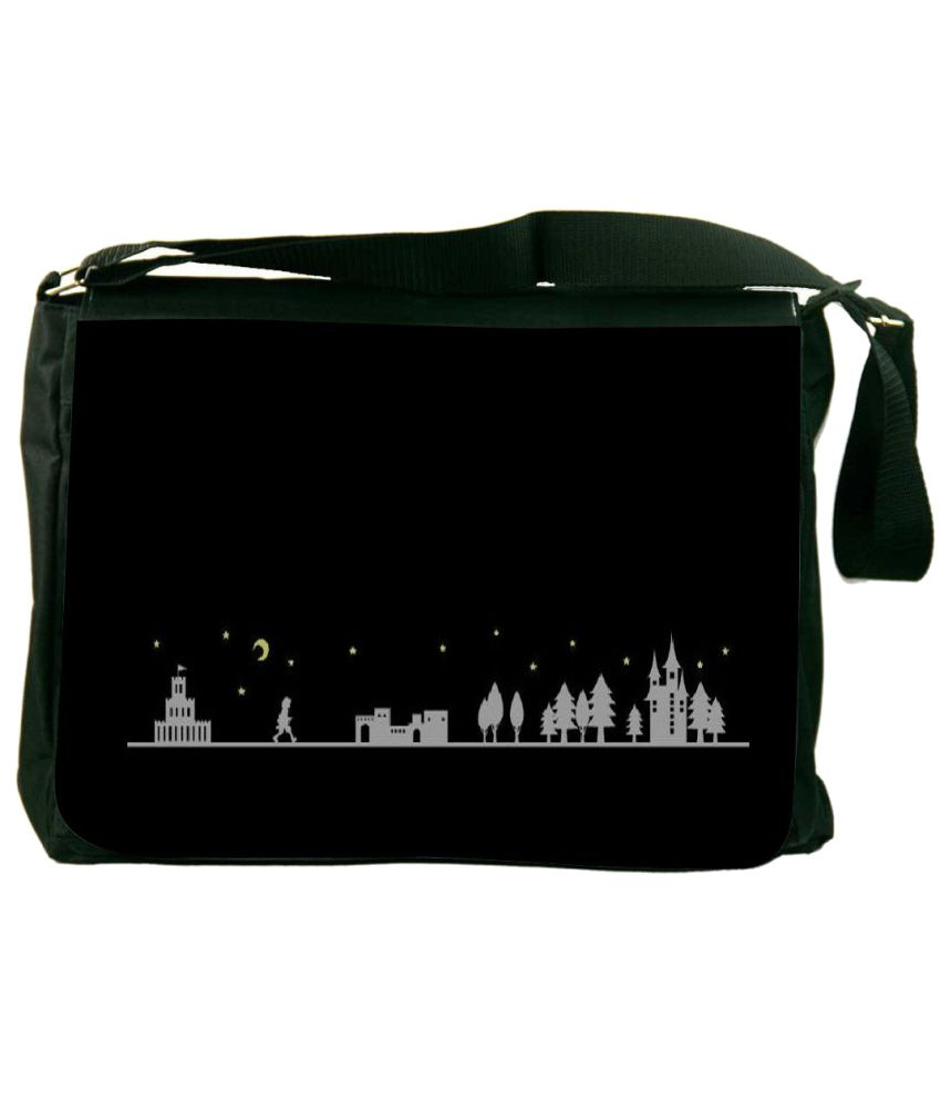 Snoogg Black and Gray Laptop Messenger Bag Black and Gray Messenger Bag