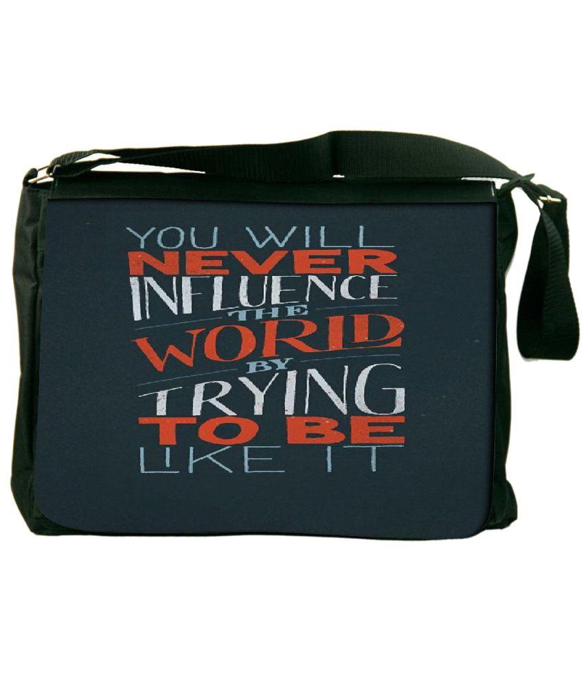 Snoogg Blue and Orange Laptop Messenger Bag Blue and Orange Messenger Bag