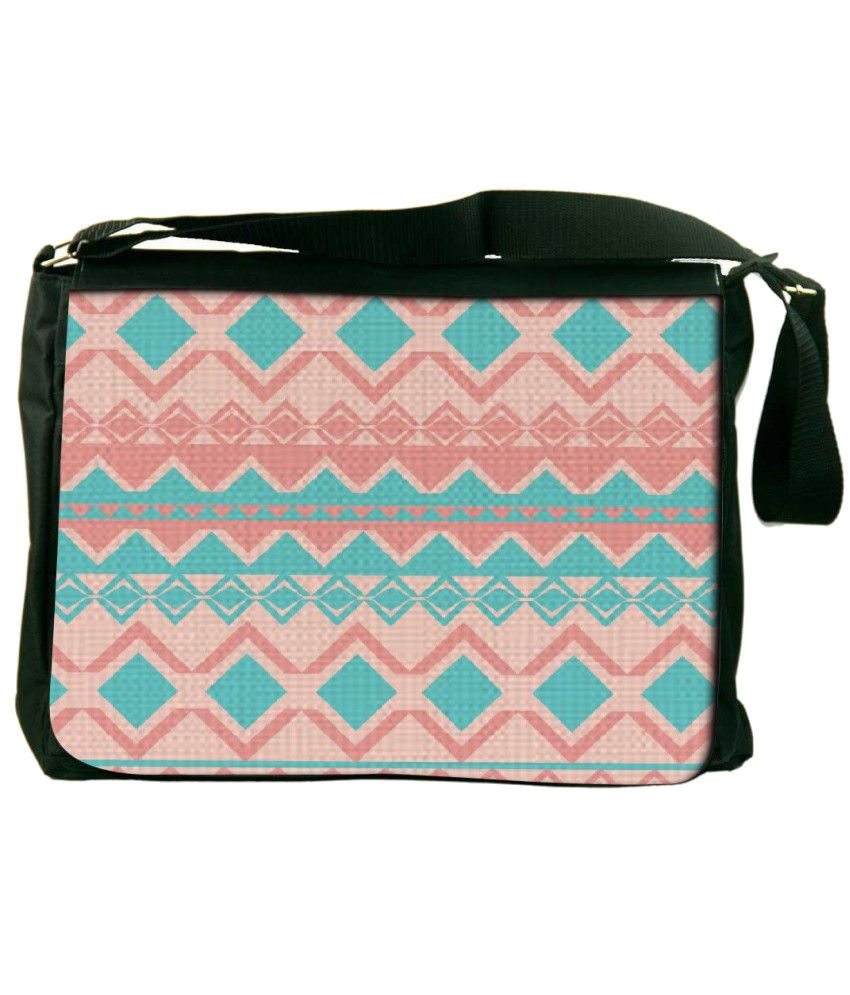 Snoogg Blue and Pink Laptop Messenger Bag Blue and Pink Messenger Bag