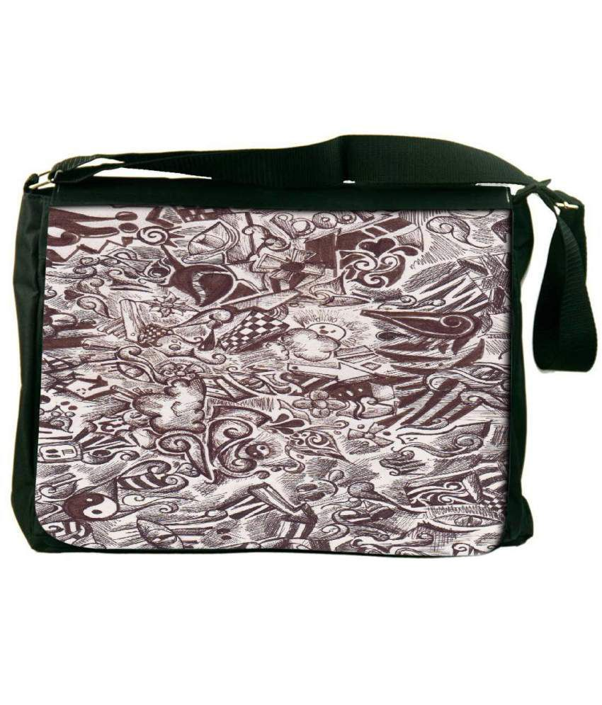 Snoogg Brown and White Laptop Messenger Bag Brown and White Messenger Bag