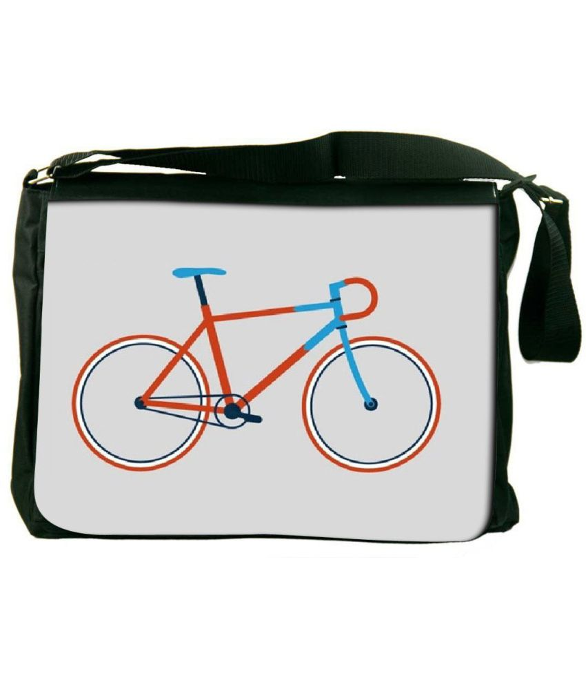 Snoogg Gray and Orange Laptop Messenger Bag Gray and Orange Messenger Bag