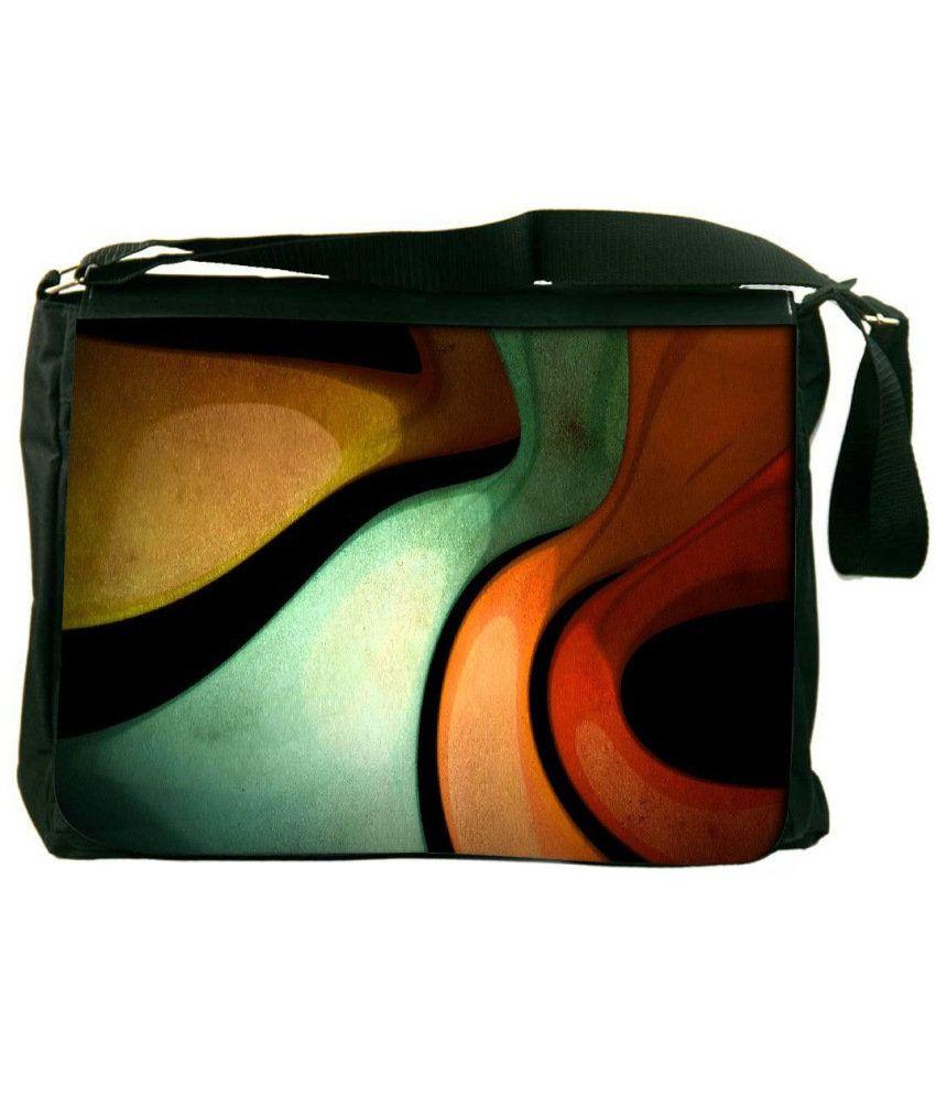 Snoogg Green and Orange Laptop Messenger Bag Green and Orange Messenger Bag